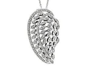 Diamond Rhodium Over Sterling Silver Pendant .45ctw