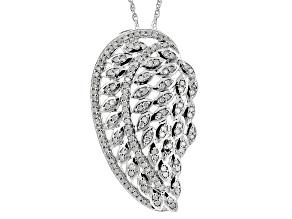Diamond Rhodium Over Sterling Silver Pendant .45ctw