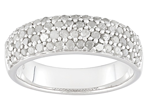 Diamond Rhodium Over Sterling Silver Ring .80ctw