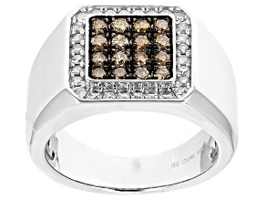 Champagne And White Diamond Rhodium Over Sterling Silver .94ctw