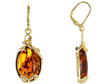 Orange Amber 18k Gold Over Silver Earrings