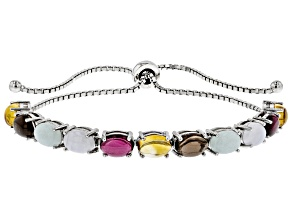 Multi-gemstone rhodium over silver bolo bracelet