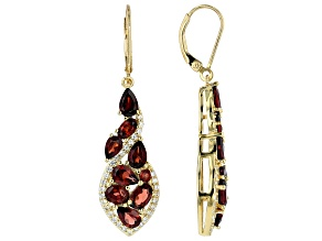 Red garnet 18k Gold Over Silver earrings 7.18ctw