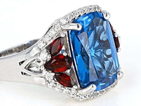 Blue lab created spinel rhodium over silver ring 8.14ctw