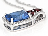 Blue lab created spinel rhodium over silver pendant with chain 7.73ctw