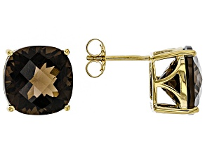 Brown smoky quartz 18k gold over silver stud earrings 10.25ctw