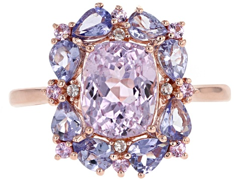 Pink Kunzite 18k Rose Gold Over Silver Ring 3.48ctw