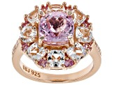 Pink kunzite 18k rose gold over sterling silver ring 4.32ctw