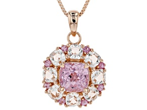 Pink kunzite 18k rose gold over silver pendant with chain 4.28ctw