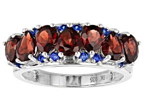 Red garnet rhodium over silver ring 2.84ctw