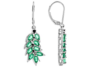 Green onyx rhodium over silver earrings .14ctw