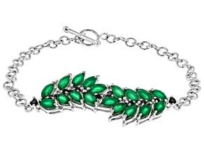 Green onyx rhodium over silver bracelet .32ctw