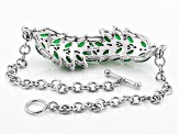 Green onyx rhodium over silver bracelet .32ctw