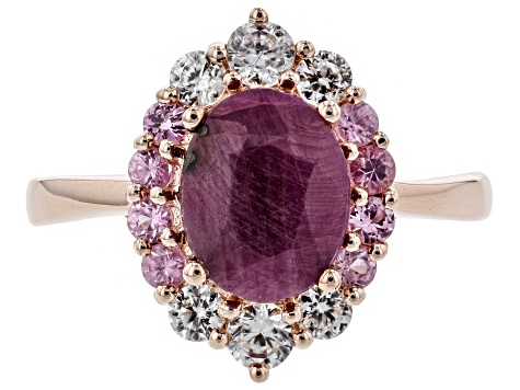 Red Ruby 18k Rose Gold Over Silver Ring 3.01ctw