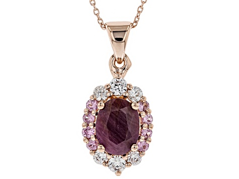 Red Ruby 18k Rose Gold Over Silver Pendant With Chain 3.01ctw