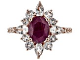 Red Ruby 18k Rose Gold Over Silver Ring 3.92ctw