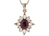 Red Ruby 18k Rose Gold Over Silver Pendant With Chain 3.67ctw