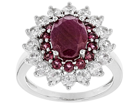 Red Ruby Rhodium Over Silver Ring 4.66ctw