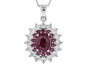 Red Ruby Rhodium Over Silver Pendant With Chain 4.66ctw