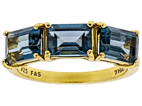 London blue topaz 18k gold over silver ring 3.09ctw