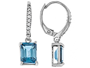London blue topaz rhodium over silver earrings 3.43ctw