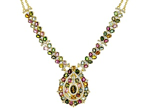 Multi-Tourmaline 18k Yellow Gold Over Silver Necklace 12.49ctw