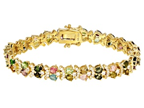Multi-Tourmaline 18k Gold Over Silver Bracelet 8.53ctw