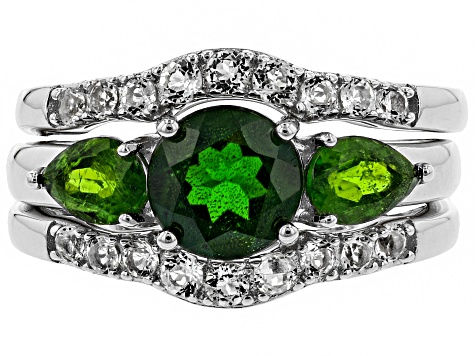 Green chrome diopside rhodium over silver ring and 2 wraps 3-piece set 2.55ctw