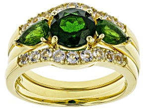 Green chrome diopside 18k gold over silver ring and 2 wraps 3-piece set 2.55ctw