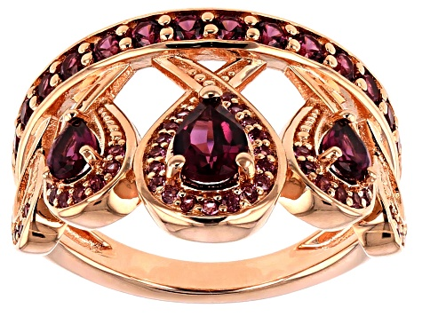 Raspberry color rhodolite 18k rose gold over silver ring 1.45ctw