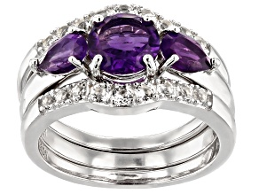 Purple amethyst rhodium over silver 3-ring set. 2.36ctw