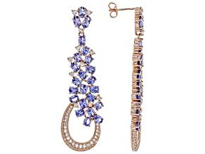 Blue tanzanite 18k gold over silver earrings 9.99ctw