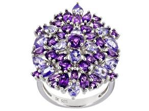 Purple amethyst rhodium over silver ring 4.63ctw