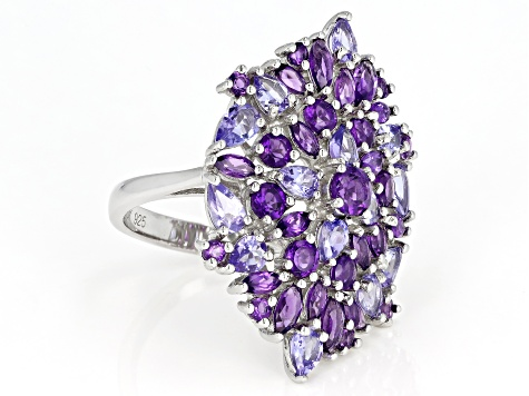Purple amethyst rhodium over silver ring 4.63ctw