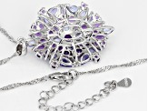 Purple amethyst rhodium over silver pendant with chain 4.66ctw