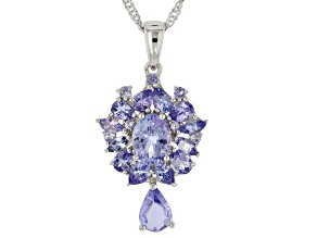 Blue tanzanite rhodium over silver pendant with chain 3.64ctw