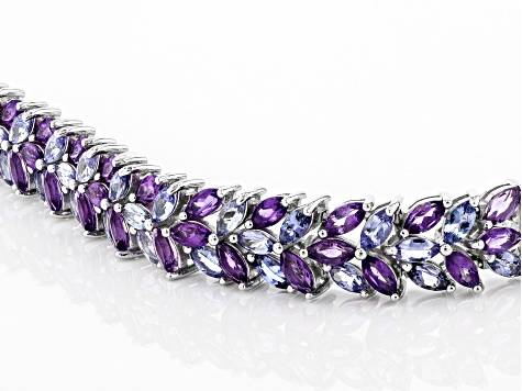 Purple amethyst rhodium over silver bracelet 15.85ctw