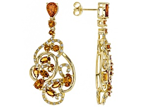 Orange Mandarin garnet 18k gold over silver earrings 7.74ctw