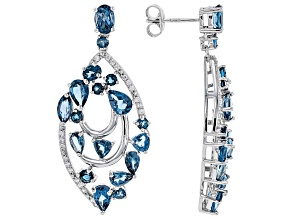 London blue topaz rhodium over silver earrings 8.54ctw