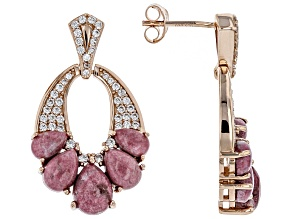 Red Thulite 18k Rose Gold Over Silver Earrings .61ctw