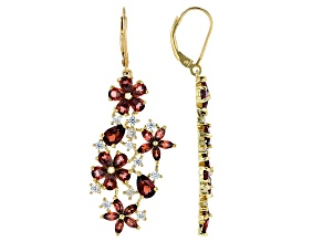 Red garnet 18k gold over silver earrings 7.19ctw