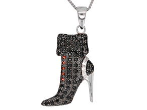 Black Spinel Rhodium Over Silver Shoe Pendant With Chain .46ctw