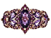 Purple Amethyst 18k Rose Gold Over Silver Ring 2.10ctw