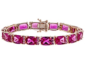 Pink lab created sapphire 18k rose gold over silver bracelet 39.71ctw