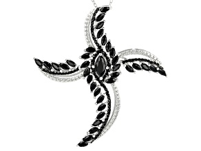 Black spinel rhodium over silver pendant/slide with chain 8.95ctw