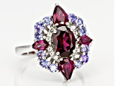 Raspberry color rhodolite rhodium over silver ring 3.54ctw