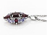 Raspberry Color Rhodolite Rhodium Over Sterling Silver Pendant with Chain 3.63ctw
