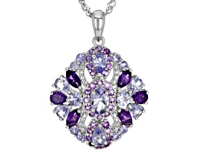 Blue tanzanite rhodium over silver pendant with chain 2.94ctw