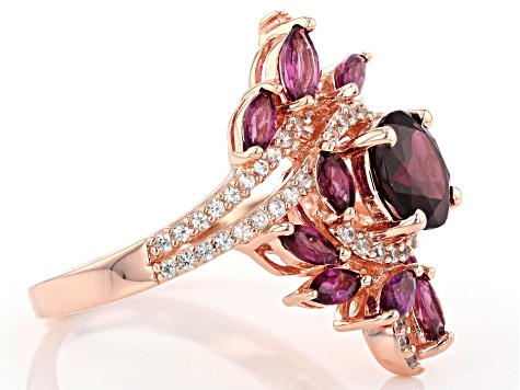 Raspberry color rhodolite 18k gold over silver ring 2.97ctw