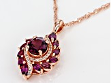 Raspberry Color Rhodolite 18k Rose Gold Over Sterling Silver Pendant with Chain 2.77ctw
